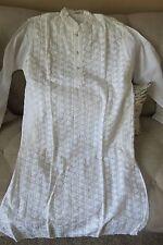 Kurta--White Cotton -Embroidered  Punjabi --White