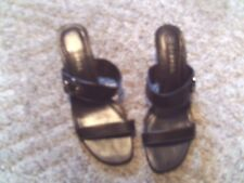 "GEORGE LADIES SIZE 8 SLIP ON SHOES BROWN OPEN TOE 2 1/2"" HEEL SANDALS PREOWNED"