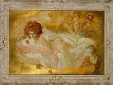 Original Julian Ritter, `Blame it on the Apple,' Oil Painting, Gold Leaf, 21X32