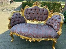French Louis XVI Style Red Silk Upholstered Sofa