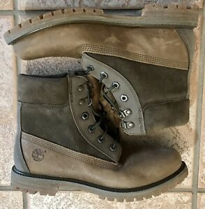 Timberland Women's 6 inch Premium D Ring Boots, Olive Green, Size 9 1/2, New