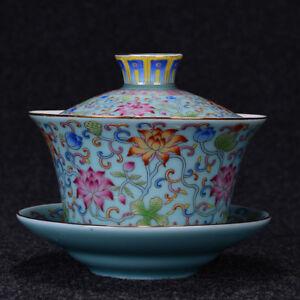 340ml China Gaiwan Porcelain Tureen Covered Bowl Tea Cup Saucer Kung Fu Tea Set