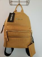 New Steve Madden 2 Piece Mustard Logo Backpack And Cardholder Keychain Set