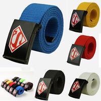 Unisex  Superman Canvas Belt Buckle Waistband Handmade Belts Outdoor Sports