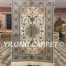 Yilong 2.5'x4' Top Handmade Vintage Rugs Floral Hand Knotted Silk Carpets ZS07A