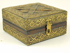 Jewelry Trinket Card Square Box Ornate Wood Embossed Metal Cover Latch Hinged