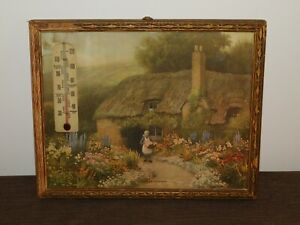 """VINTAGE 10 3/4"""" X 9""""  GARDEN OF CONTENT THATCHED HOUSE TEMPERATURE GAUGE PICTURE"""