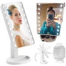 Specchio illuminato trucco con luce LED rotante vano oggetti cosmetici touch