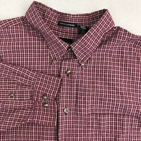 Arrow Button Up Shirt Mens 2XL Maroon Blue Long Sleeve Cotton Check Wrinkle Free