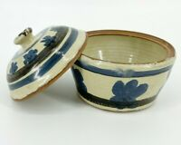 Vintage Stoneware Ceramic Pottery Bowl Container with Lid Natural Art Storage