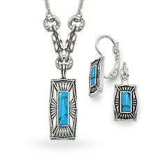 Antiqued Genuine Turquoise Pendant & Earring Set ($49.99 value) (USA Seller)
