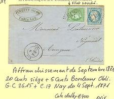 AFFRANCHISSEMENT DE SEPTEMBRE LETTRE DE NAY POUR ARENGOSSEDU 4.9.1871