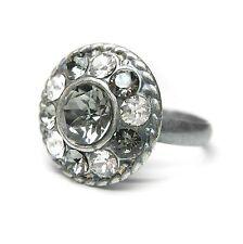 Neu RING mit SWAROVSKI STEINE crystal/black diamond/klar/schwarz-gra VERSTELLBAR