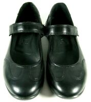 ECCO Womens Mary Jane Shoes Black Leather Flats Comfort Adjustable Babett 5/5.5