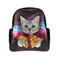 New Funny Galaxy Cat Eating Pizza Multi-Pockets Backpack Travel Backpack Daypack