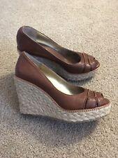 Banana Republic High Heel Wedge Espadrilles Size 6 Brown Peep Toe Leather Shoe