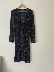 Sussan Size 12 Black And White Long Sleeve Wrap Dress New Without Tag