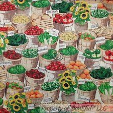 BonEful Fabric FQ Cotton Quilt Green Red Vegetable Fruit Basket US Market Yellow