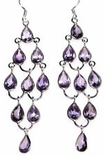 """Sterling 925 SILVER Amethyst Chandelier Earrings, Genuine Gemstones 3"""" Long Drop"""