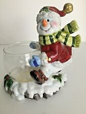 "Christmas Snowman Ceramic and Glass 5 1/4"" Candle Holder Detailed Multi Color"