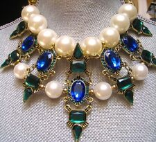 ~NEW RUNWAY ART Modern Designer Chunky BLUE STONE Huge Pearl Fashion NECKLACE