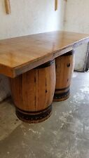 Recycled Solid Oak Double Whisky Barrel Bar Table