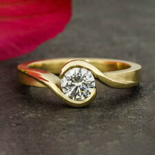 0.50 Cts VVS1 D Round Brilliant Cut Mossanite Engagement Ring 14k Yellow Gold
