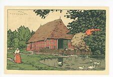 Luneburger Heide—Dorfiduil—Rare AK Art-Nouveau German Artist-Signed 1910s