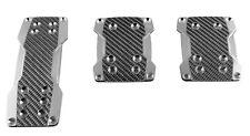 Sumex almohadillas de pedal de carbono real de aluminio Conjunto de 3 para coches Manual-Gris Plata y