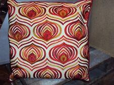 1 edles Dekokissen Kissenhülle 40 x 40 cm natur rot Reißverschluß Stickerei