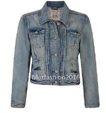 Ladies Women Falmer Heritage Denim Fitted Vintage Jean Jacket Top Coat Vest 8-20