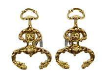 French Antique Ormolu Bronze Lion Pair of Andirons Fireplace Set