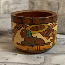 Mayan Aztec Design Red Clay Pot Polychrome Pottery Tourist Souvenir Mexico