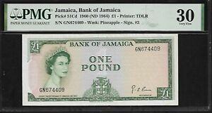 Jamaica 1 Pound 1960 PMG 30  Pick # 51Cd  PMG Population 2/17