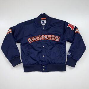 Starter Denver Broncos Womens Satin Jacket Size Medium Blue NFL Football