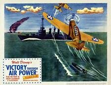 WALT DISNEY VICTORY THROUGH AIR POWER WWII Showing BOMBER 11x14 LC Print 1943