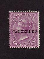 Mauritius stamp #41, 5 shilling Queen Victoria, pre cancel, MNHOG, SCV $65