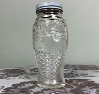 Vintage Fish Shaped Glass Bottle Jar With Lid Scales Pinecone Bears Chevron