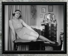 Spectacular... Woman on Table in 1920's Swim Suit . Antique 8x10 Photo Print