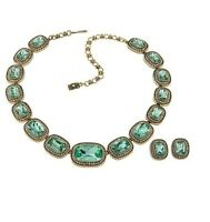 "Heidi Daus ""Exquisite Elegance"" Necklace & Earrings Set Chrysolite  Pierced NWT"