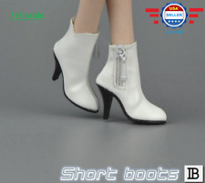 "1/6 scale Female White Short Ankle Shoes Leather Boots HOLLOW for 12"" PHICEN"