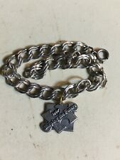 925 Sterling Silver Double Link 7 Inch Charm Bracelet With Single Charm