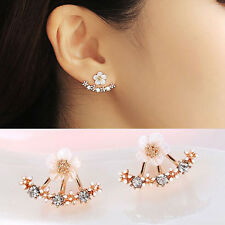 Women Elegant Rose Gold Crystal Rhinestone Daisy Flower Ear Stud Earrings Gift
