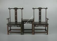 new 1 set red Suan-zhi wood rosewood Miniature flower design chair w stand #8