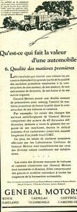 Publicité ancienne automobile Général Motors 1925 issue de magazine