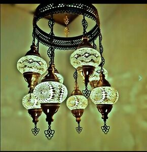 Hand Made Mosaic Turkish Ceiling Hanging Chandelier /light- 8 Globes, Green