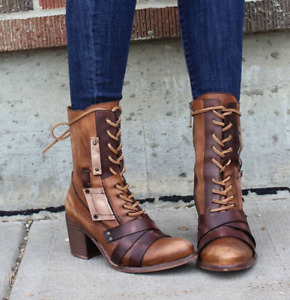 Retro Womens PU Leather Straps Rivets Ankle Boots Lace-Up Chunky Heels Zha19
