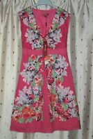 MONSOON ~ Lined, Sleeveless Pretty Pink Floral Cotton Summer Dress ~ Size 8 ~NWT