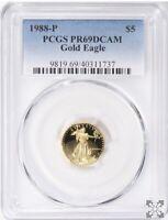 1988-P US 1/10TH OZ GOLD $5 EAGLE | PCGS PR69DCAM | BEAUTY!