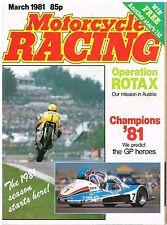 Motorcycle Racing Mar 1981 Rotax Keith Huewen Ballington Virginio Ferrari Lawson